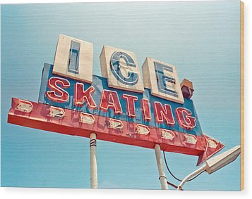 Ice Skating Wood Print by Matthew Bamberg
