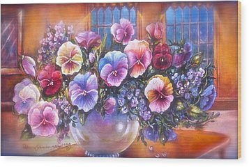 Icicle Pansies Wood Print by Patricia Schneider Mitchell
