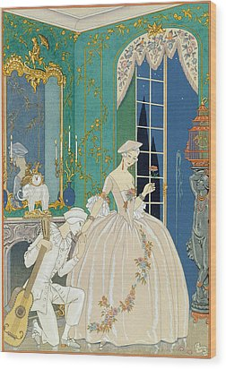 Illustration For 'fetes Galantes' Wood Print by Georges Barbier