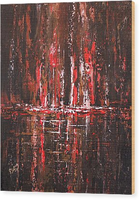 Wood Print featuring the painting In The Heat Of The Night by Patricia Lintner