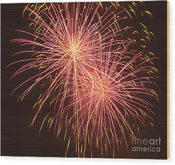 Independence Day Fireworks Wood Print by Philip Pound