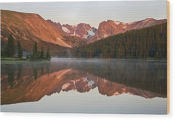 Indian Peaks At Sunrise Wood Print by Morris  McClung