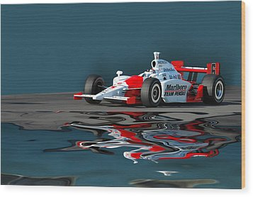 Indy Reflection Wood Print by Kevin Cable