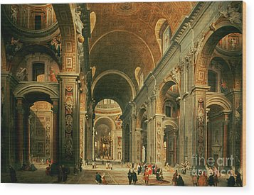 Interior Of St Peters In Rome Wood Print by Giovanni Paolo Panini
