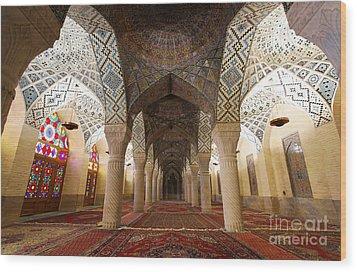 Interior Of The Winter Prayer Hall Of The Nazir Ul Mulk Mosque In Shiraz Iran Wood Print by Robert Preston