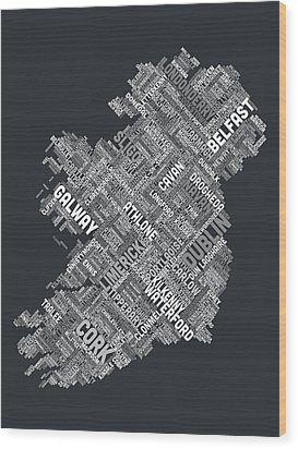 Ireland Eire City Text Map Wood Print by Michael Tompsett