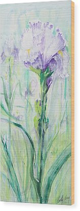 Wood Print featuring the painting Iris Number One by Cathy Long