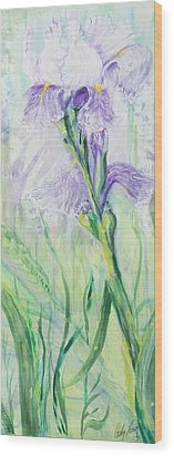 Wood Print featuring the painting Iris Number Three by Cathy Long