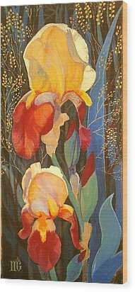 Wood Print featuring the painting Irises by Marina Gnetetsky