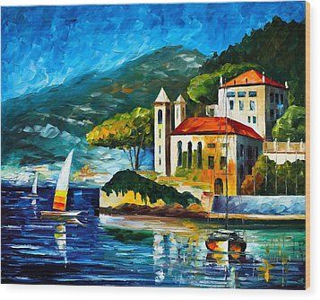 Italy Lake Como Villa Balbianello Wood Print by Leonid Afremov