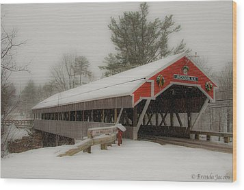 Jackson Nh Covered Bridge Wood Print by Brenda Jacobs