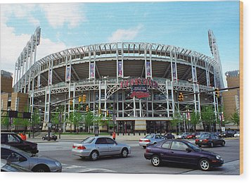 Jacobs Field - Cleveland Indians Wood Print by Frank Romeo