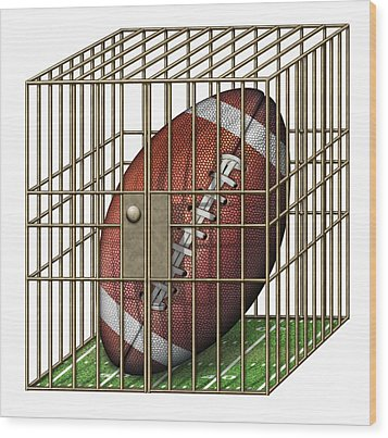 Jailed Football Wood Print by James Larkin
