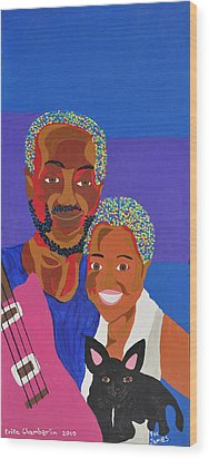 Wood Print featuring the painting James And Monique by Erika Chamberlin