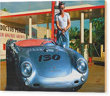 James Dean Filling His Spyder With Gas Wood Print