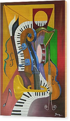 Jammin With Jc Wood Print by Brien Cole