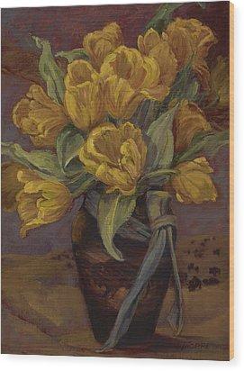 Yellow Tulips- And Buffalo Dreams Wood Print by Jane Thorpe