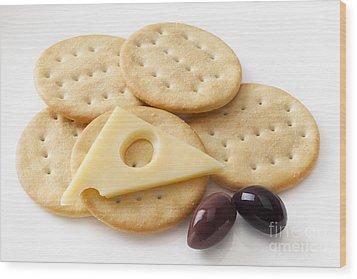 Jarlsberg Cheese And Crackers Wood Print by Colin and Linda McKie