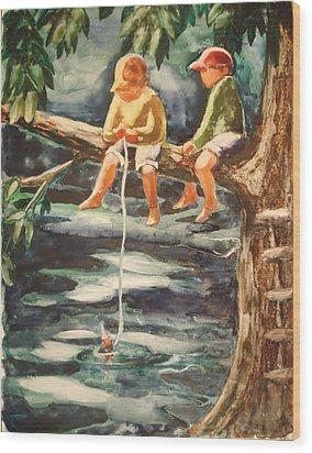 Jes Fishin Wood Print by Marilyn Jacobson