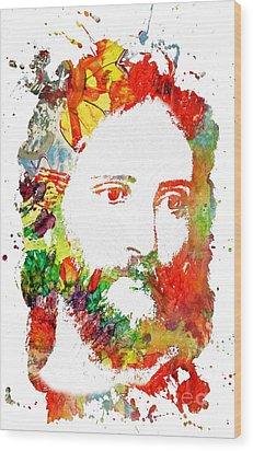 Jesus Christ - Watercolor Wood Print by Doc Braham