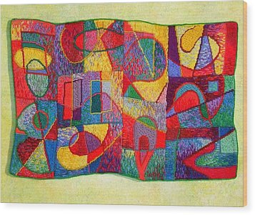 Jigsaw Tapestry Wood Print by Diane Fine