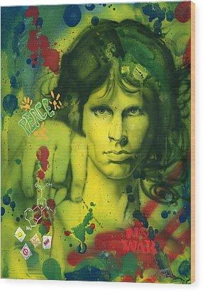 Jim Morrison Wood Print by Luis  Navarro