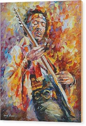 Jimi Hendrix Wood Print by Leonid Afremov