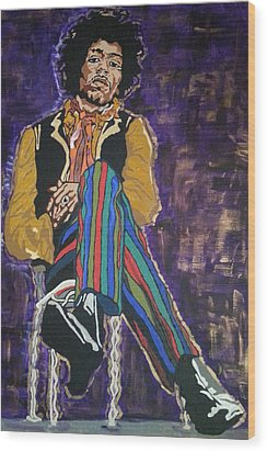 Jimi Hendrix Wood Print by Rachel Natalie Rawlins