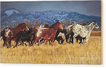 Wood Print featuring the painting Joe's Horses by Tim Gilliland