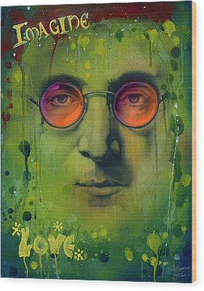 John Lennon Wood Print by Luis  Navarro