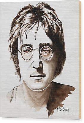 Wood Print featuring the painting John Lennon by Maria Barry
