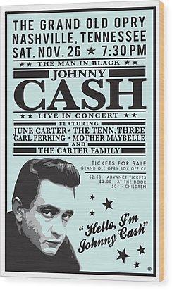 Johnny Cash Wood Print by Gary Grayson