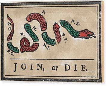 Join Or Die Cartoon 1754 Wood Print by Granger