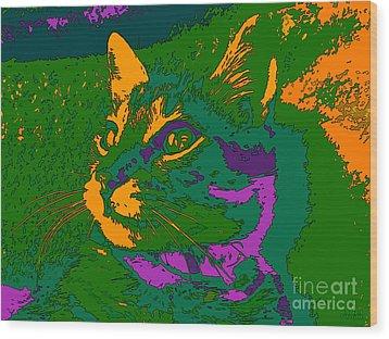Wood Print featuring the digital art Jungle Cat by Hanza Turgul