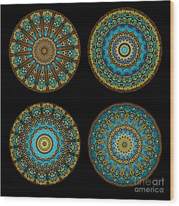 Kaleidoscope Steampunk Series Montage Wood Print by Amy Cicconi