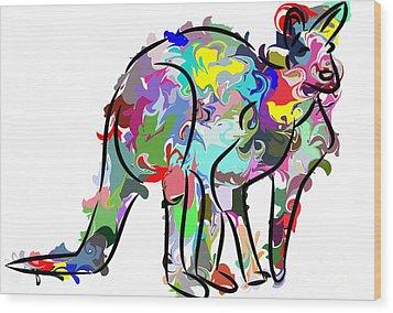 Kangaroo Wood Print by Chris Butler