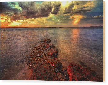 Karuah Sunset Wood Print by Paul Svensen