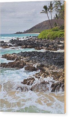 Keanae Lava Rock Wood Print by Jenna Szerlag