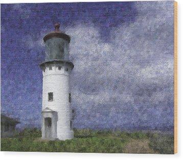 Kilauea Lighthouse Wood Print by Renee Skiba