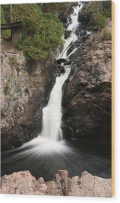 Kinsmen Park Waterfall Wood Print by Paula Brown