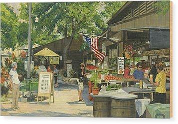 Kirkwood Farmers Market American Flag Wood Print by Don  Langeneckert