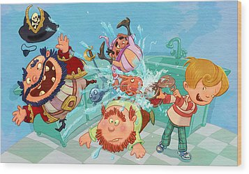Kitchen Pirates Wood Print by Andy Catling