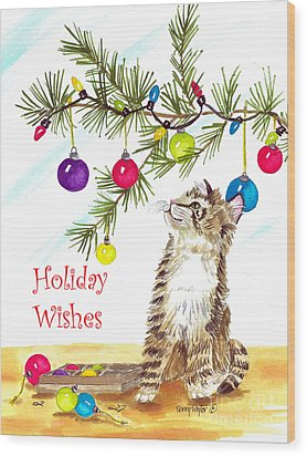 Kitten's First Christmas Wood Print by Terry Taylor