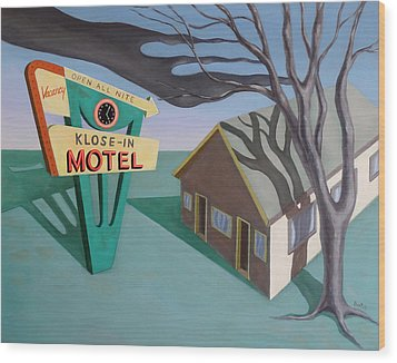 Wood Print featuring the painting Klose-in Motel by Sally Banfill