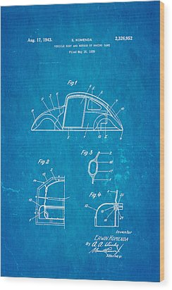 Komenda Vw Beetle Body Design Patent Art 1942 Blueprint Wood Print by Ian Monk