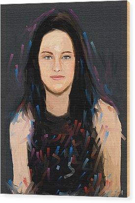 Kristen Stewart Wood Print by Bogdan Floridana Oana
