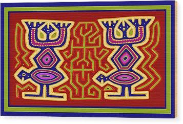 Wood Print featuring the digital art Kuna Bird Spirits by Vagabond Folk Art - Virginia Vivier