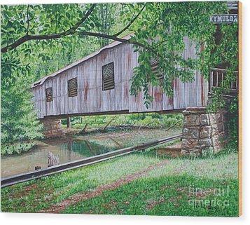 Kymulga Covered Bridge Wood Print by Mike Ivey