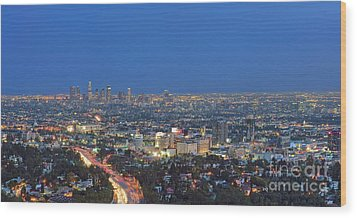 L.a. Skyline Los Angeles Ca Cityscape Night Dusk Lit Lights On 3 Wood Print