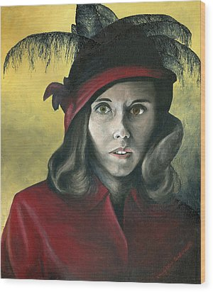 Lady In Red Wood Print by Mary Ellen Anderson